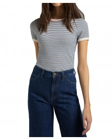 Lee STRIPED RIBBED TEE L44S Washed Blue