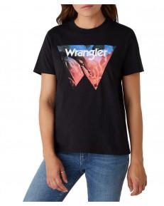 Wrangler HIGH RIB REGULAR TEE W7N9F Black